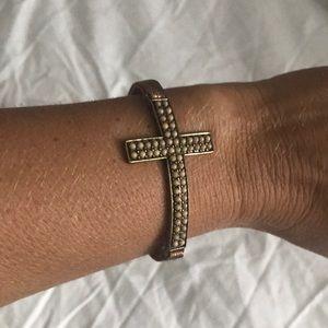 Jewelry - Leather and Metal Cross Bracelet